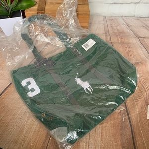 POLO RALPH LAUREN Green Canvas Large Pony Tote